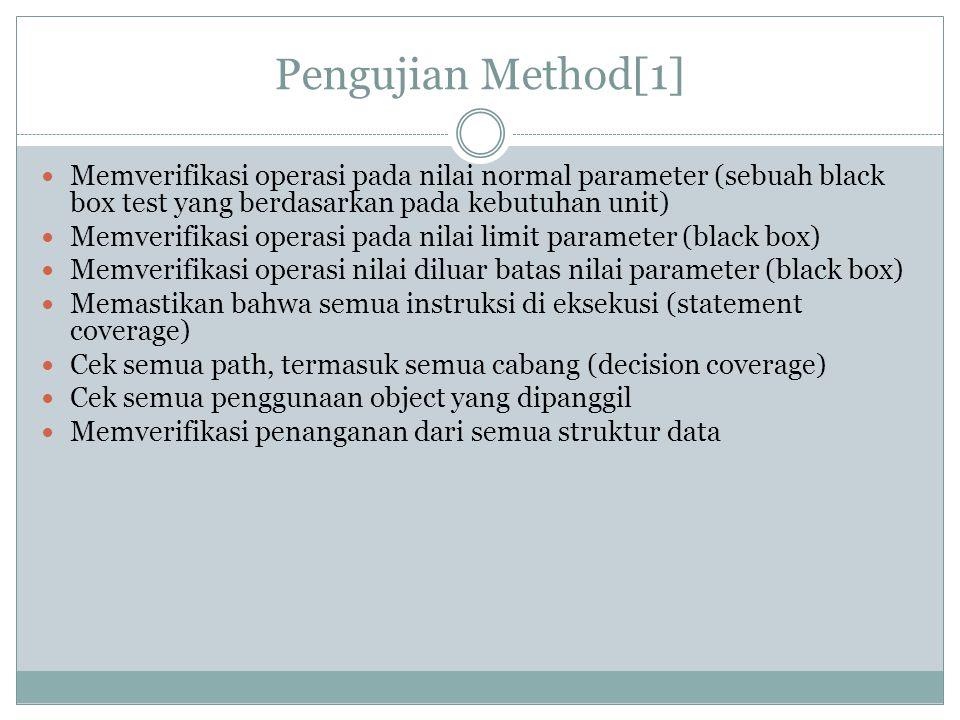 Pengujian Method[1] Memverifikasi operasi pada nilai normal parameter (sebuah black box test yang berdasarkan pada kebutuhan unit)